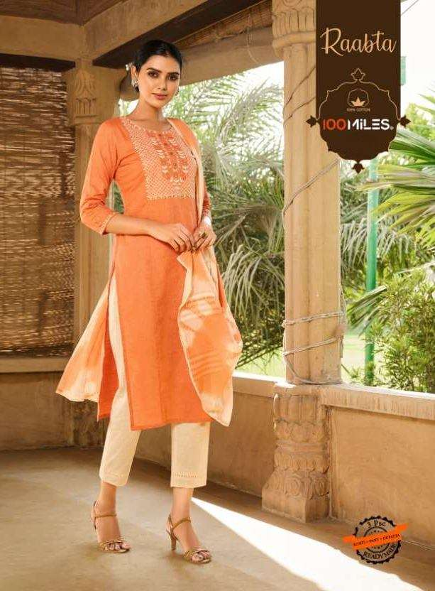 100 Miles Raabta Pure Cotton With embroidery work Kurti With Pant dupatta Collection