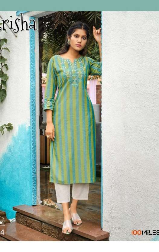 100 Miles Trisha cotton With fancy Embroidery Work Kurtis collection