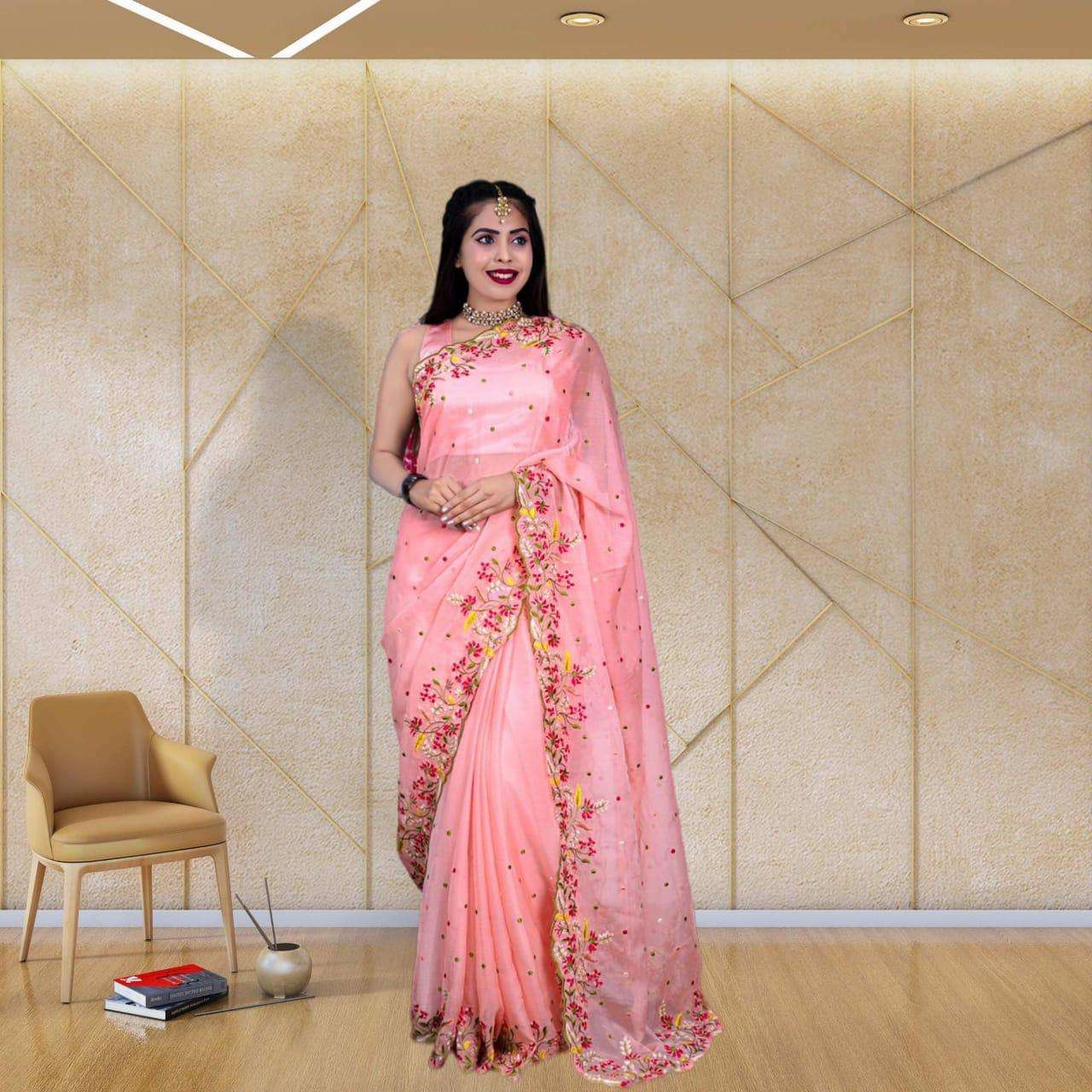 101 CHIFFON WITH MULTI EMROIDERY WORK PARTY WEAR SAREE