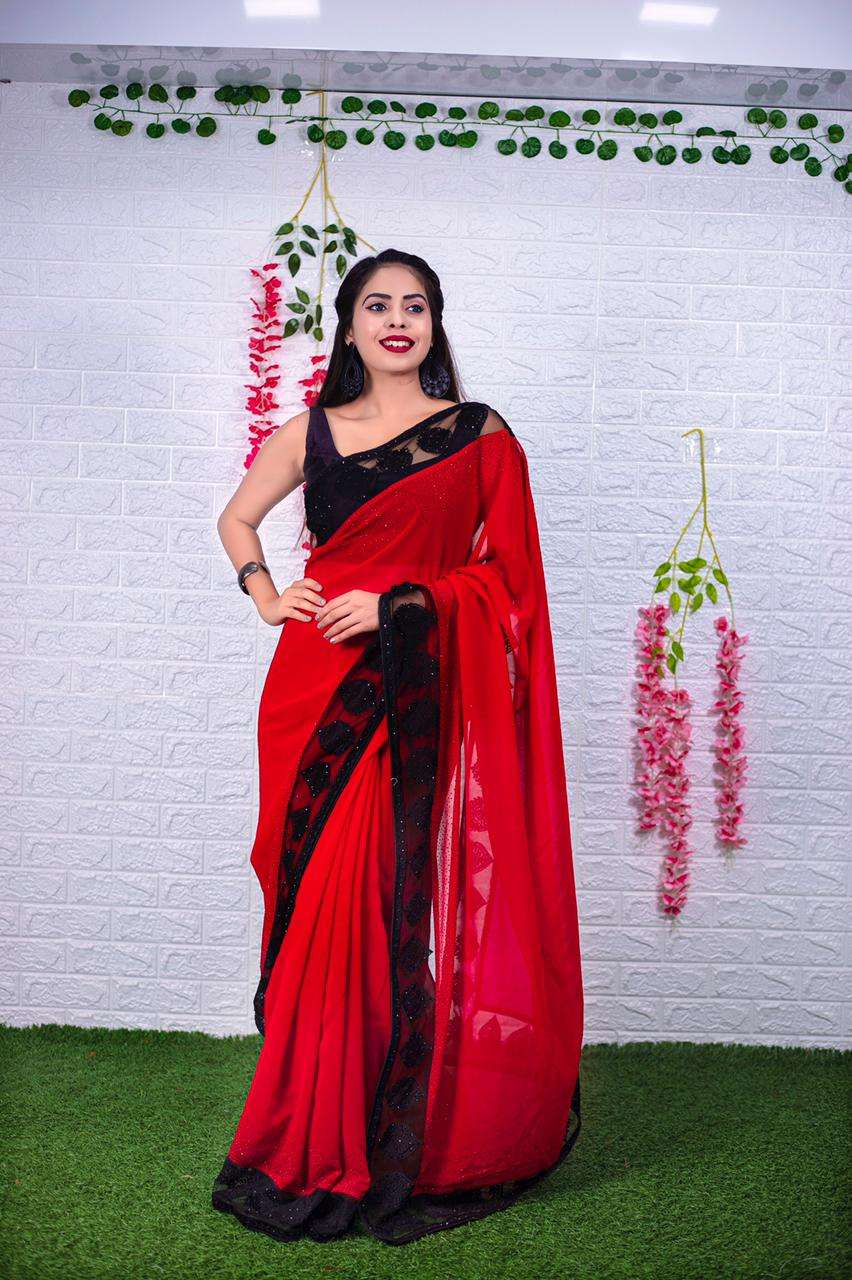 112 GEORGETTE WITH EMBROIDERY BORDER RED PARTY WEAR SAREE