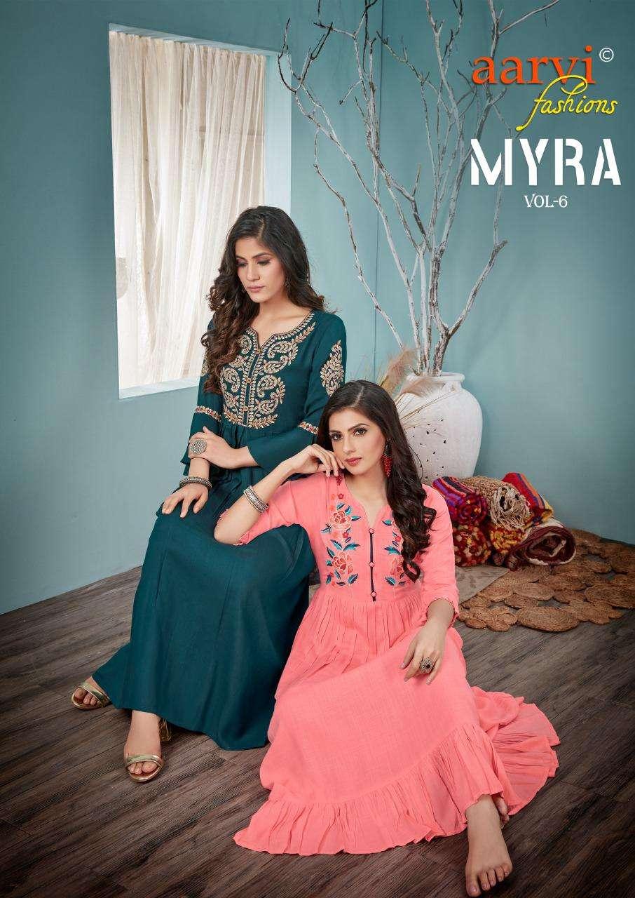 Aarvi Fashion Myra Vol 6 Rayon Slub Long Anarkali Style Kurtis Collection