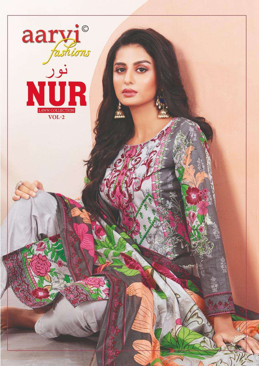 Aarvi Fashion Nur Vol 2 Pure Mul Cotton Printed readymade Suits Collection