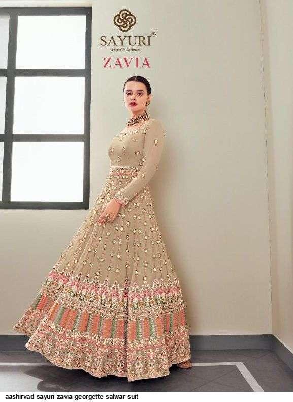 Aashirwad Creation Sayuri Zavia Real Georgette With Embroidery Work Salwar Kameez Collection