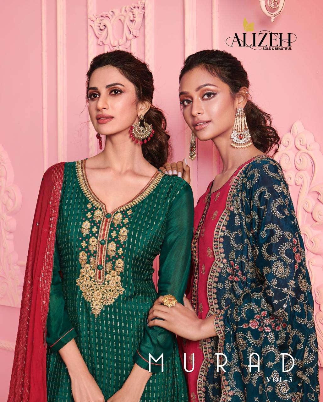 Alizeh Murad Vol 3 Georgette With Thread Zari Embroidery Work Dress Material collection