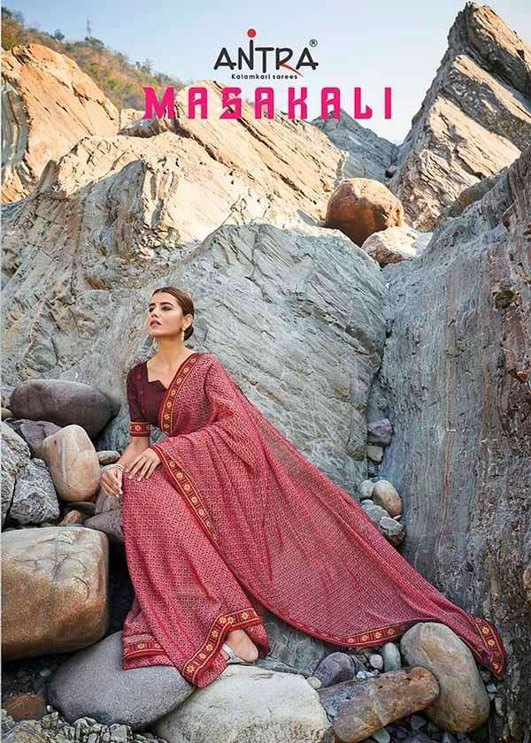 ANTRA MASAKALI CHIFFON PRINTED WITH LACE SAREES COLLECTION