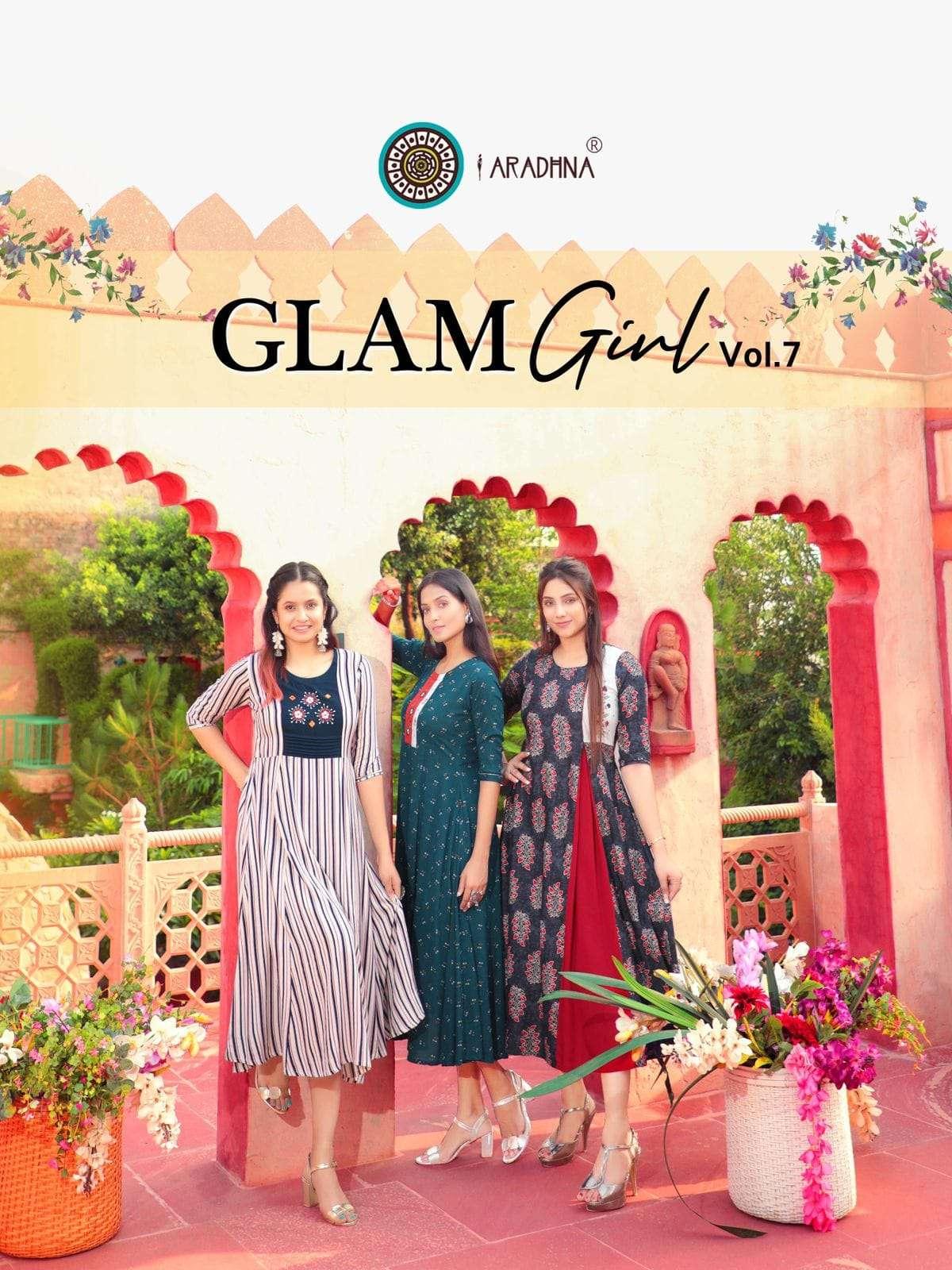 Aradhna Fashion Glam Girl Vol 7 Rayon With Work Kurtis Collection