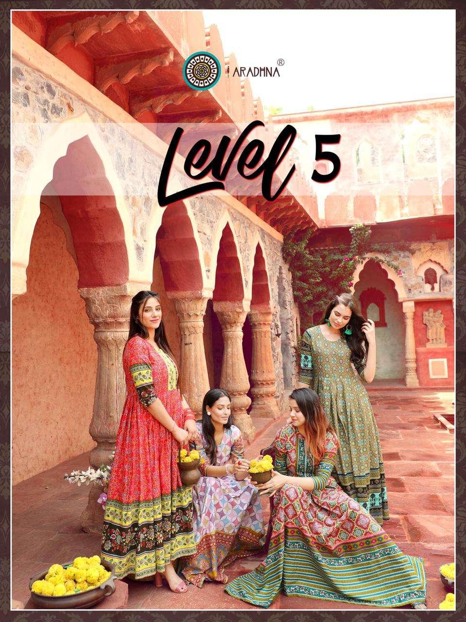 Aradhna Fashion Level Vol 5 Heavy Cotton With Work Kurtis collection
