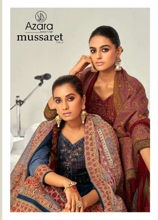 Azara Mussaret Vol 15 Pure Cambric cotton Print With Kashmiri Embroidery Work Dress material collection