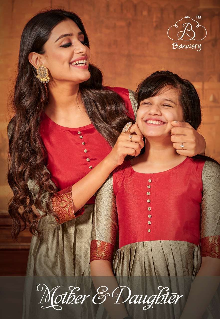 Banwery Mother & Daughter pattu silk weaving With Jacquard Border Kurtis Collection