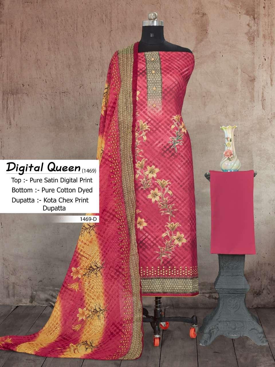 Bipson Fashion Digital Queen 1469 Cotton Satin Digital Print Dress Material Collection