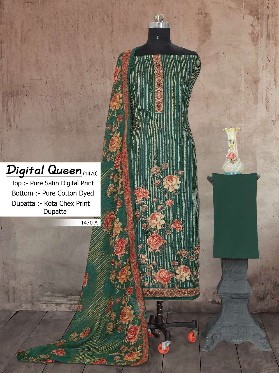 Bipson Fashion Digital Queen 1470 Cotton Satin Digital Print Dress Material Collection