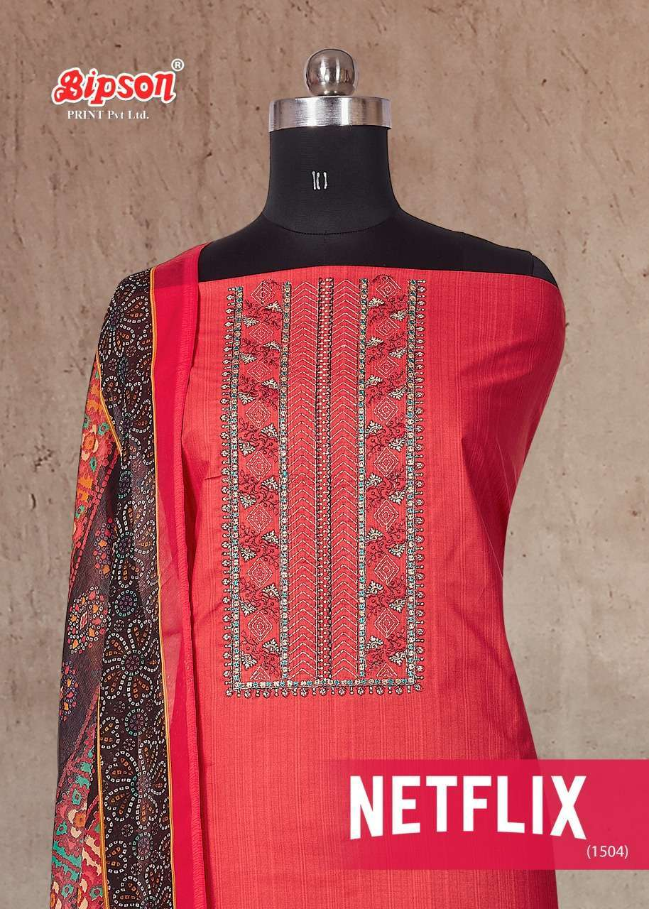 Bipson Netflix 1504 Pure cotton print With Embroidery Work Dress Material collection