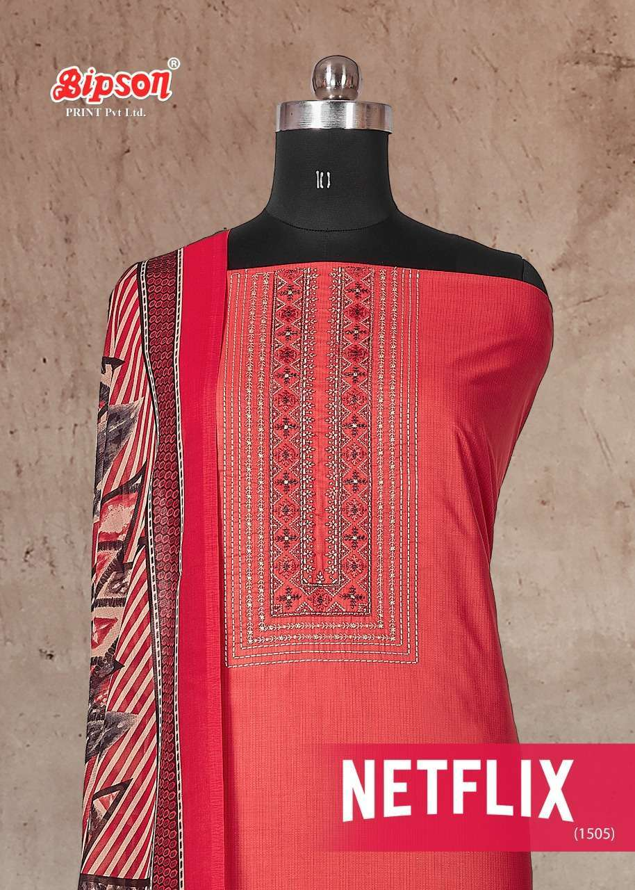 Bipson Netflix 1505 Pure cotton print With Embroidery Work Dress Material collection