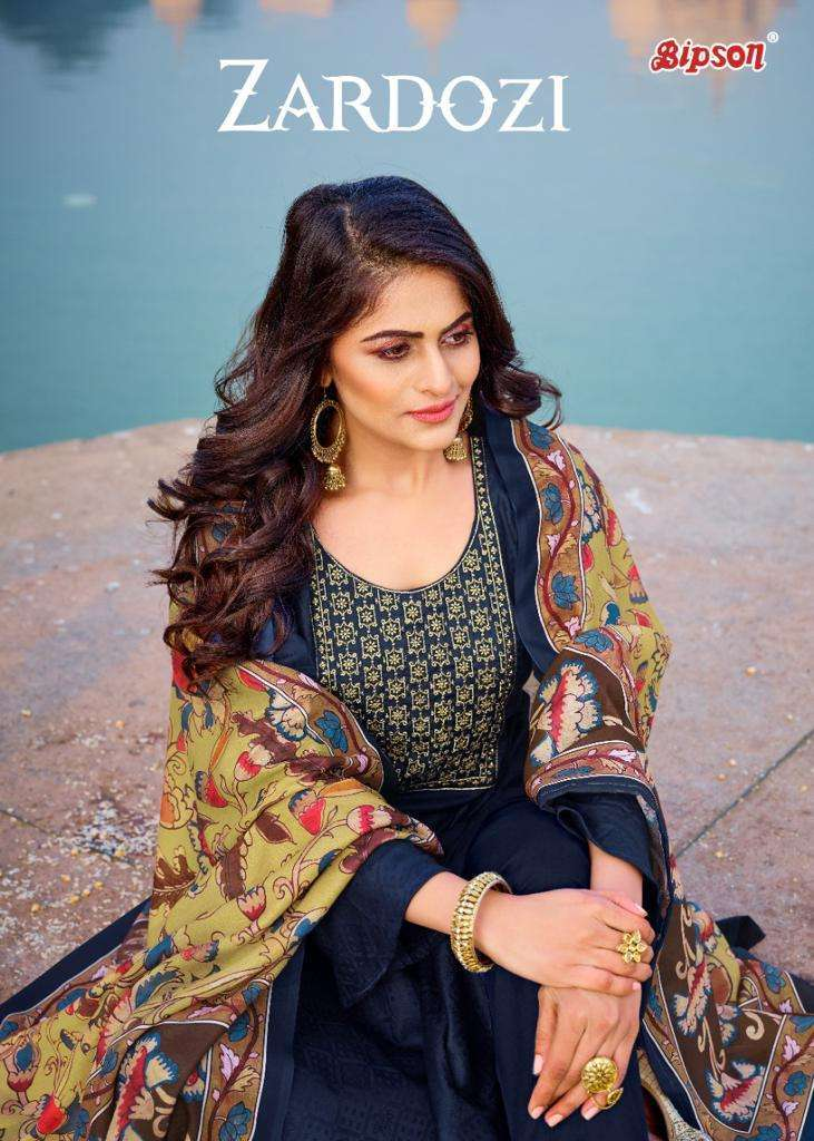 Bipson Zardosi Jam satin jacquard With Embroidery Work Dress Material collection