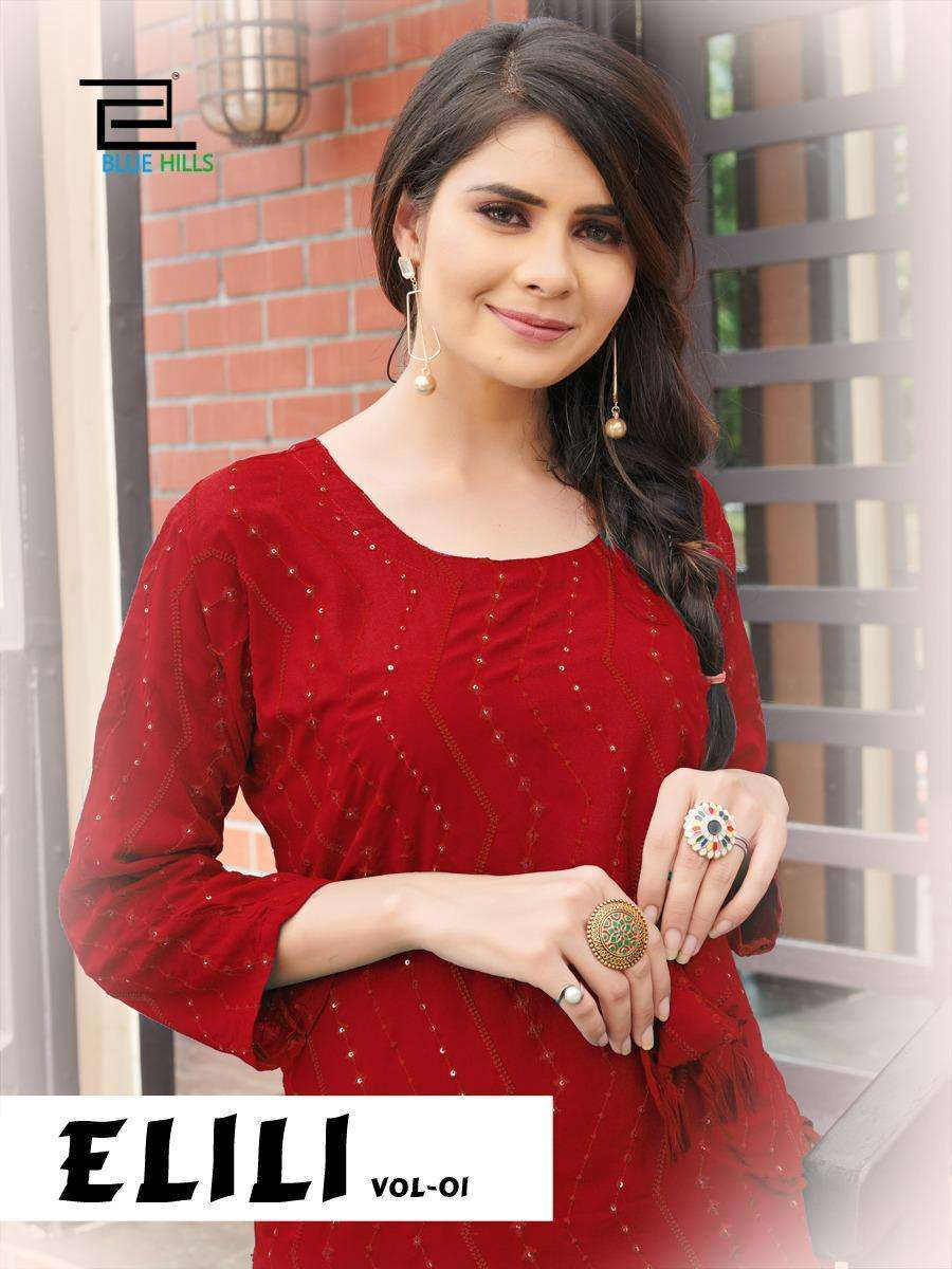 Blue Hills Elili Rayon With Embroidery Sequence Work Kurtis collection