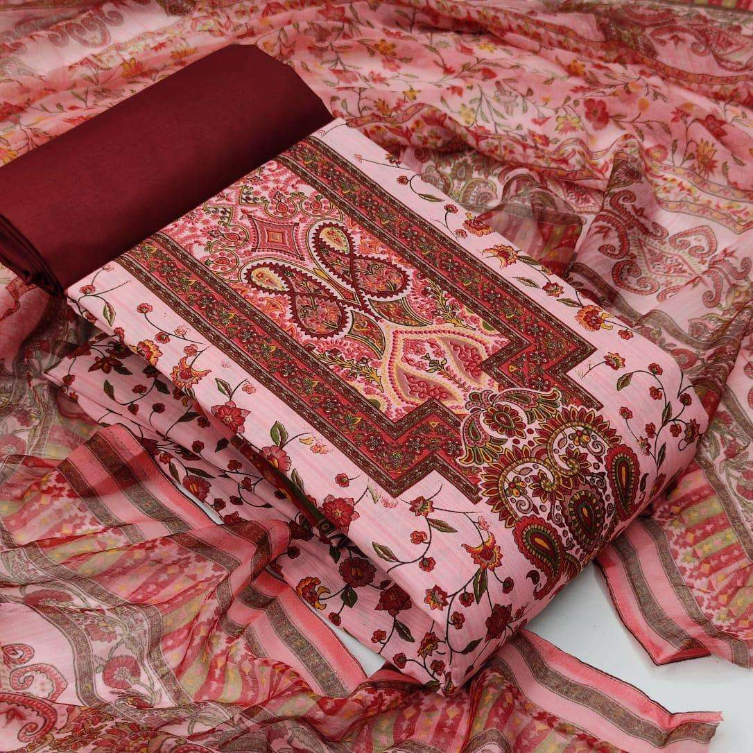 Cotton With Floral Printed Dress Material Collection 04