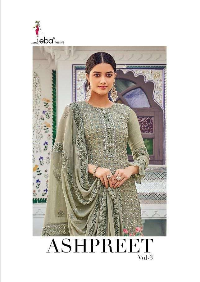 Eba Lifestyle Ashpreet Vol 3 faux Georgette With heavy embroidery Work Dress material collection