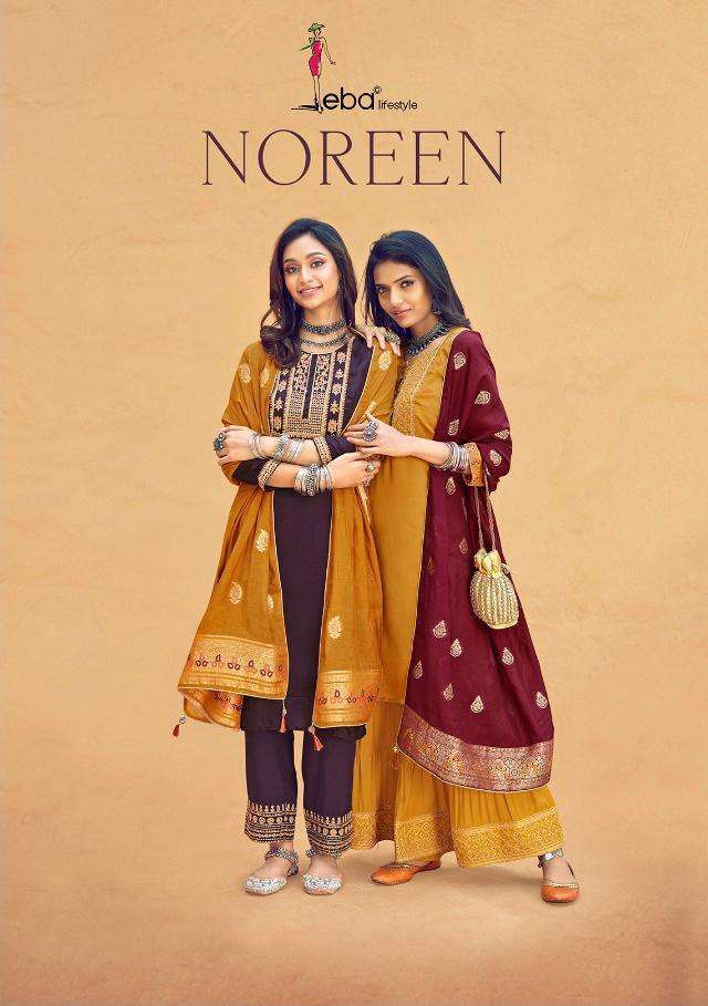 Eba Lifestyle Noreen Silk With embroidery Work Dress Material collection