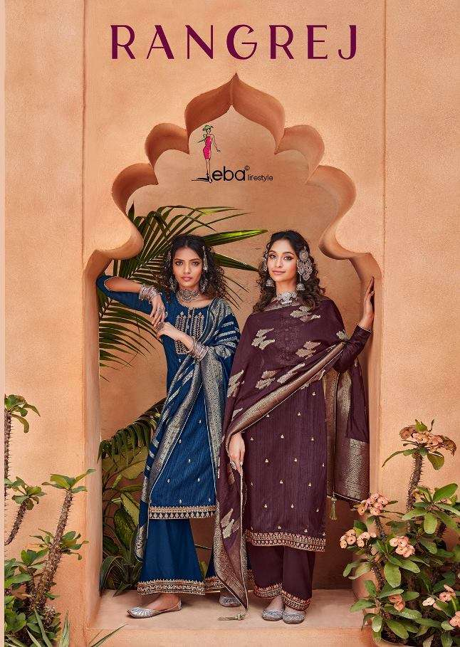 Eba Lifestyle Rangrej Pure Silk with embroidery Work Dress Material collection