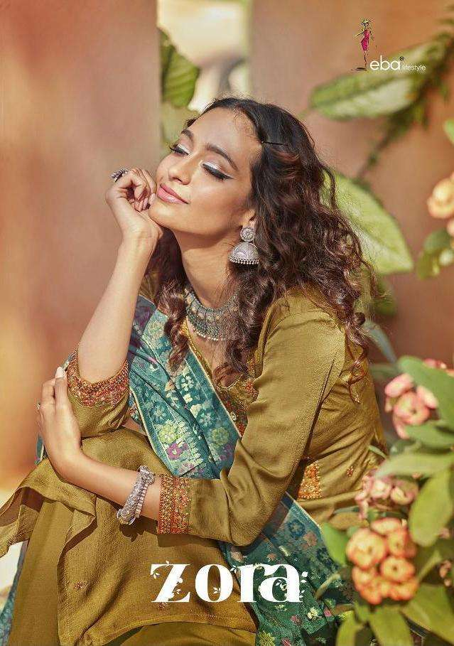 Eba Lifestyle Zora Silk With Embroidery Work Dress Material Collection
