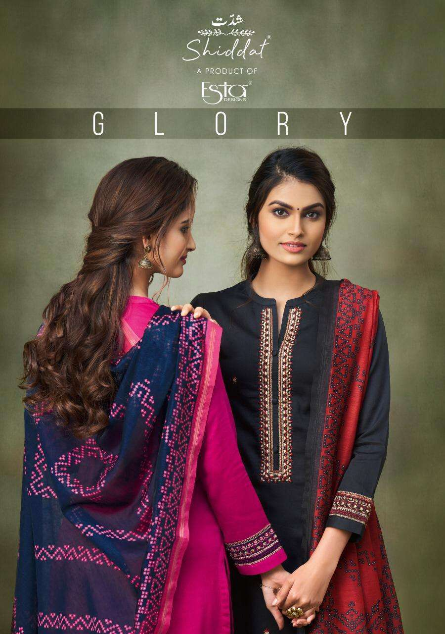 Esta Designer Shiddhat Glory Cotton satin With Embroidery hand Work Dress Material collection