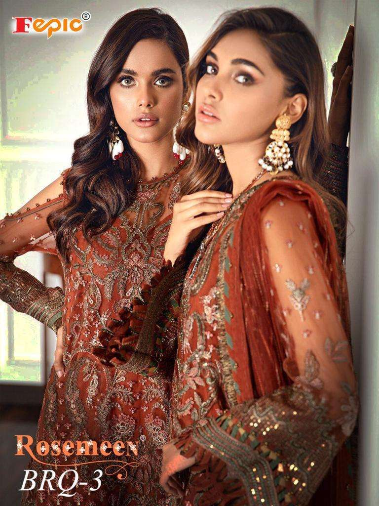 Fepic Rosemeen Brq Vol 3 Georgette Net With heavy Embroidery Work Pakistani Suits collection