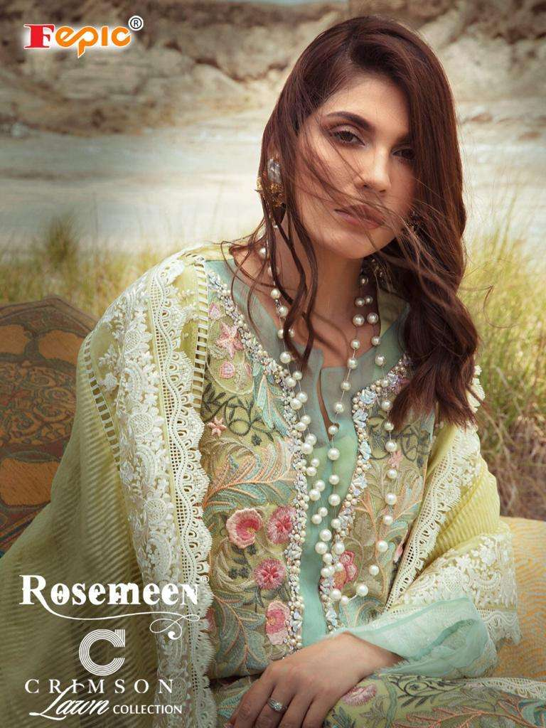 Fepic Rosemeen Crimson lawn collection Cotton With Embroidery Work Pakistani Suits collection
