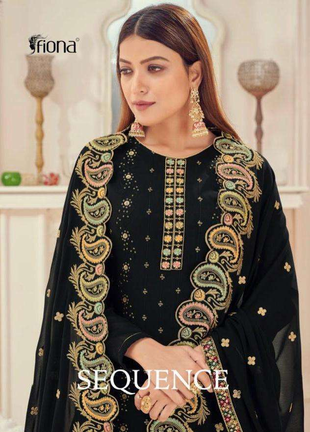 Fiona Sequence Faux Georgette Pitta Work With Sequence Dress material collection