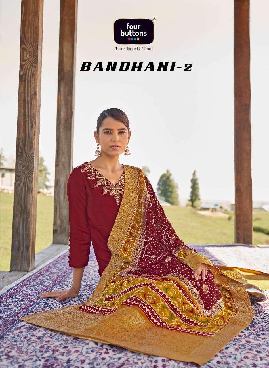Four Buttons Bandhani Vol 2 Viscose Silk With Embroidery Work Kurtis With Bottom Dupatta Collection
