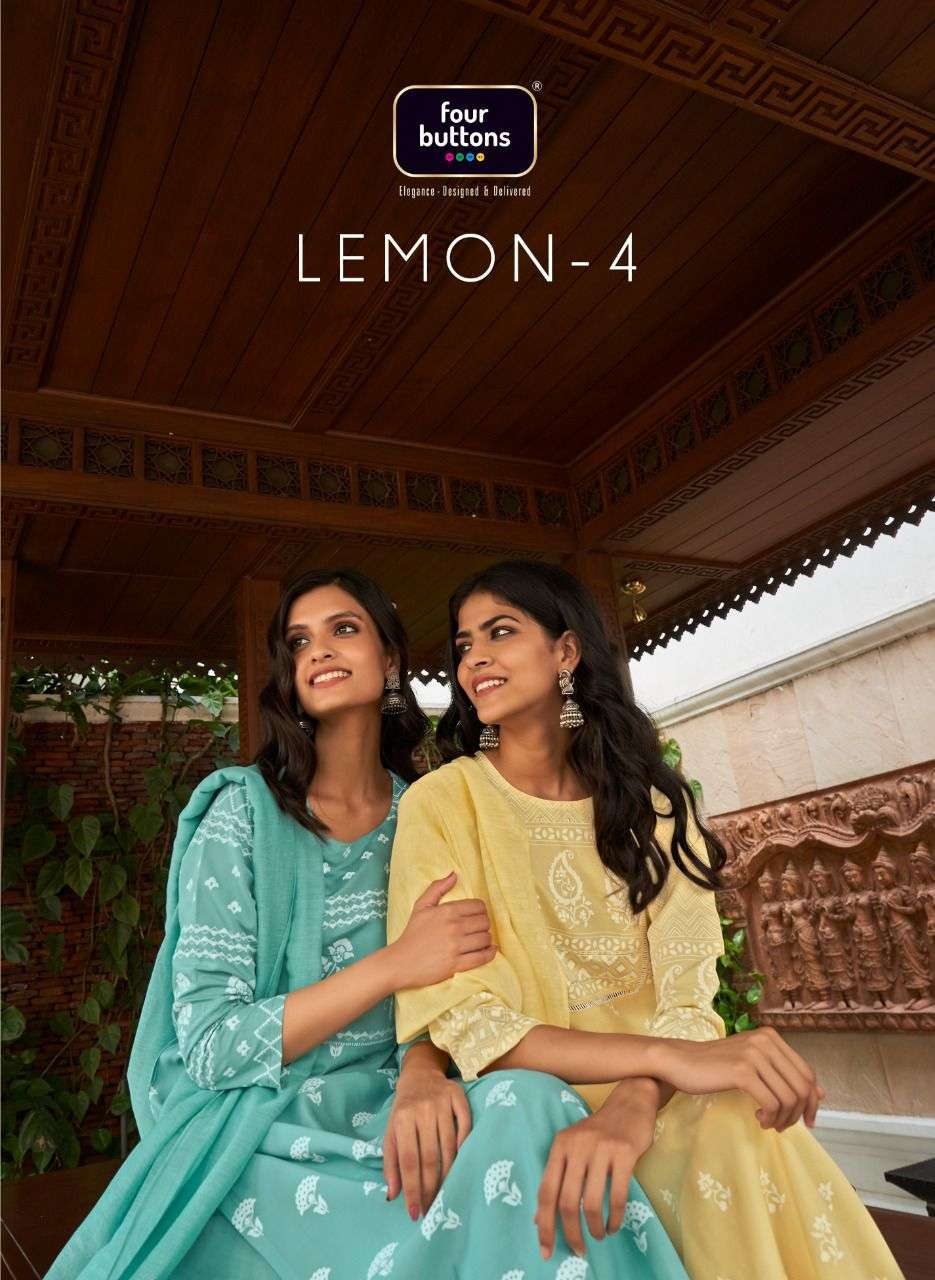 Four Buttons Lemon Vol 4 Viscose Chanderi Silk With fancy Work readymade Suits collection