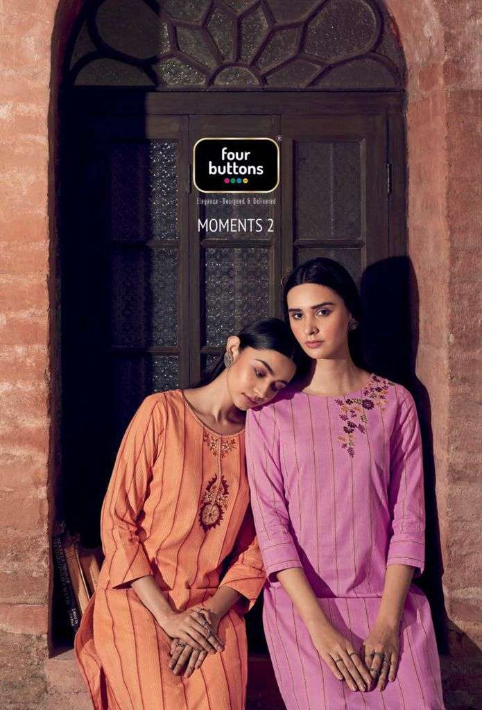 Four Buttons Moments Vol 2 Pure Cotton Woven with Work Kurti With Pant Collection