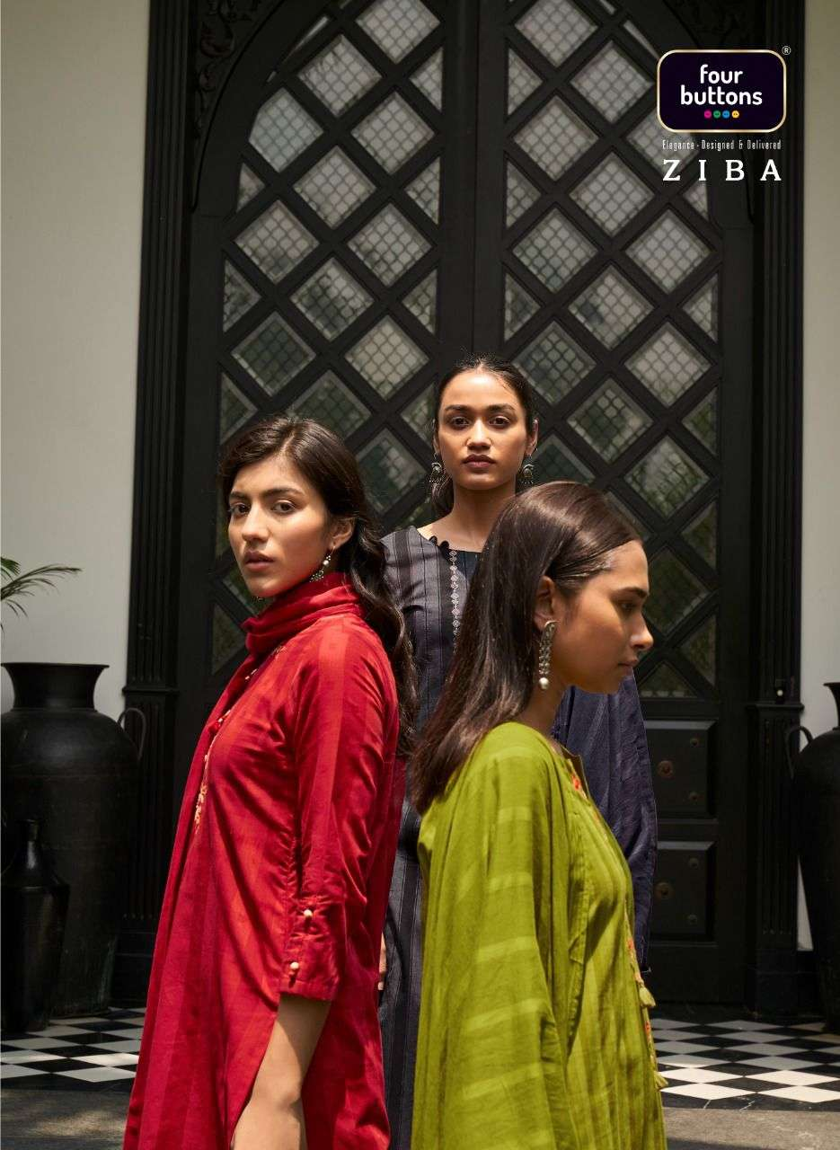 Four Buttons Ziba Pure Cotton With Embroidery Work Kurtis With Pant With Dupatta Collection
