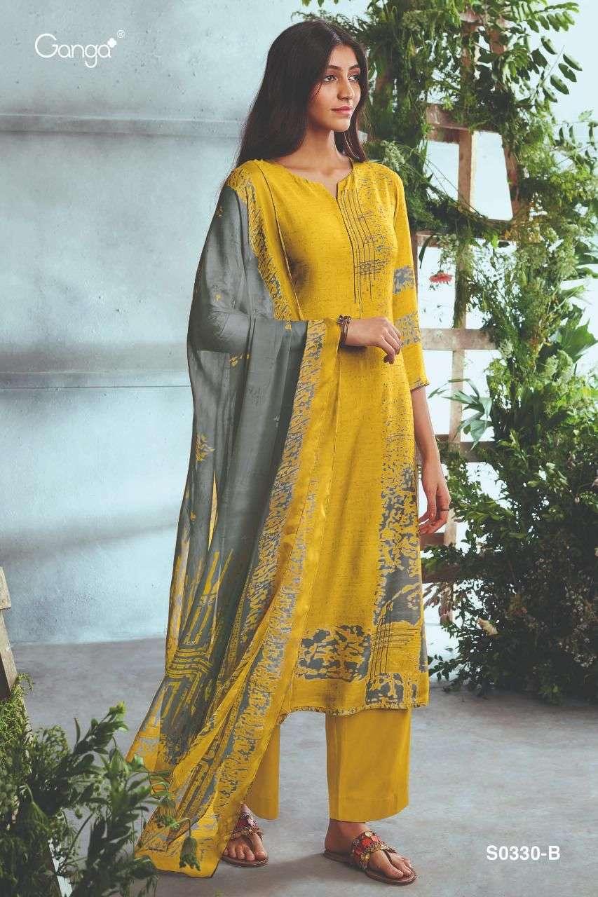 Ganga Elina 0330 Series Bemberg Silk Printed With Hand Work Salwar Kameez collection