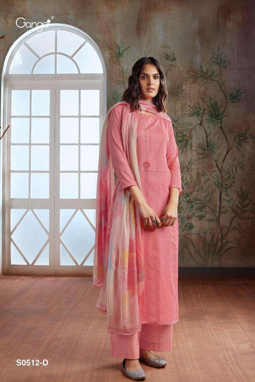 Ganga Elina 512 Series Bemberg Silk Printed With Embroidery Work Salwar Kameez Collection
