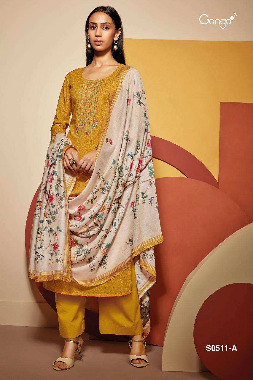 Ganga Eliza 511 Series Bemberg Lawn Printed With Embroidery Work Salwar Kameez Collection