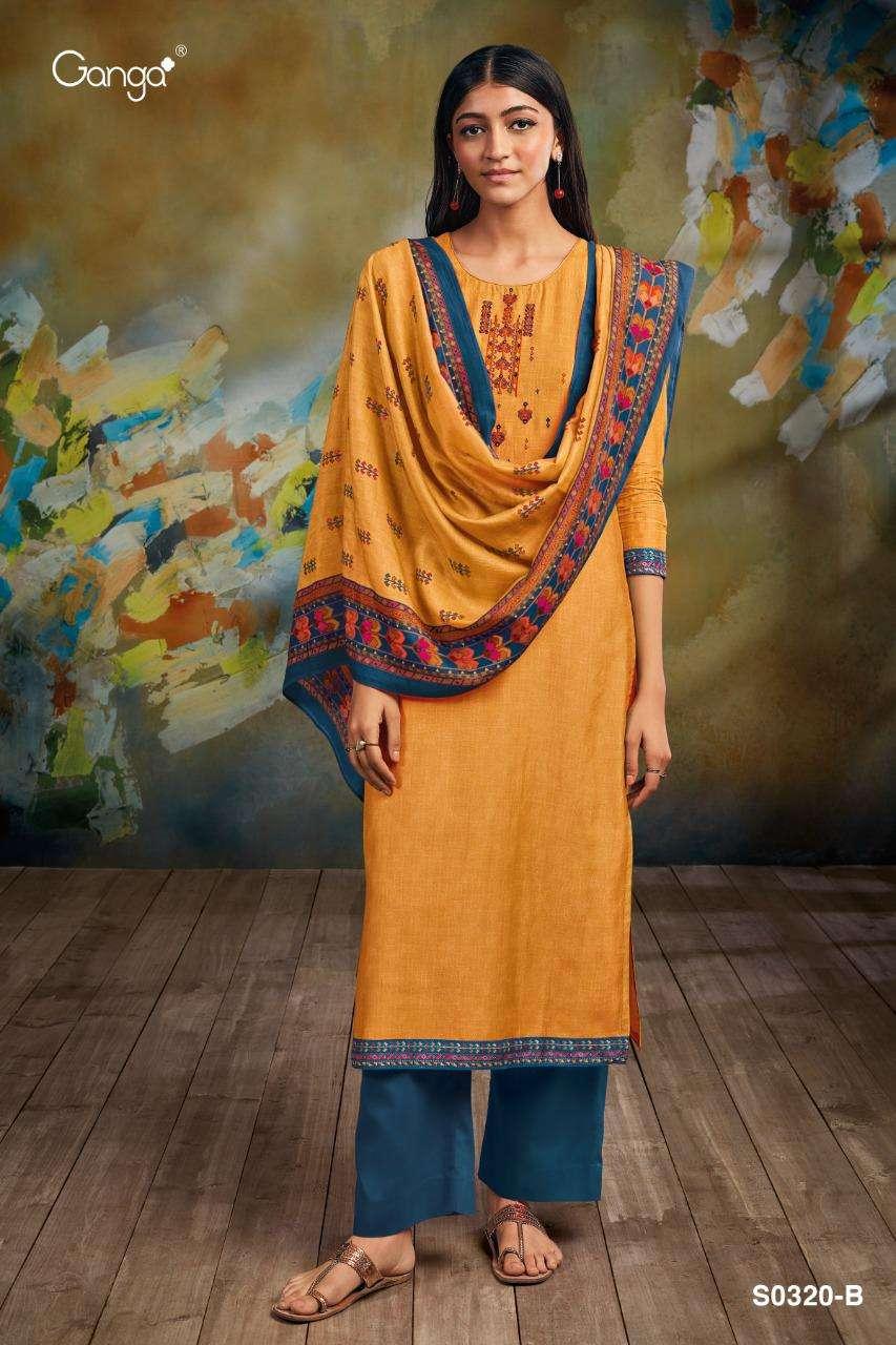 Ganga greetha 320 Series Bemberg Silk printed With Embroidery Work Salwar Kameez Collection