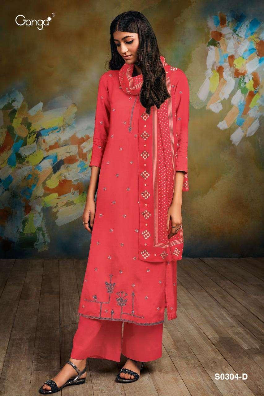 Ganga Livia 304 Series Bemberg Silk Printed With Embroidery Work Salwar Kameez collection