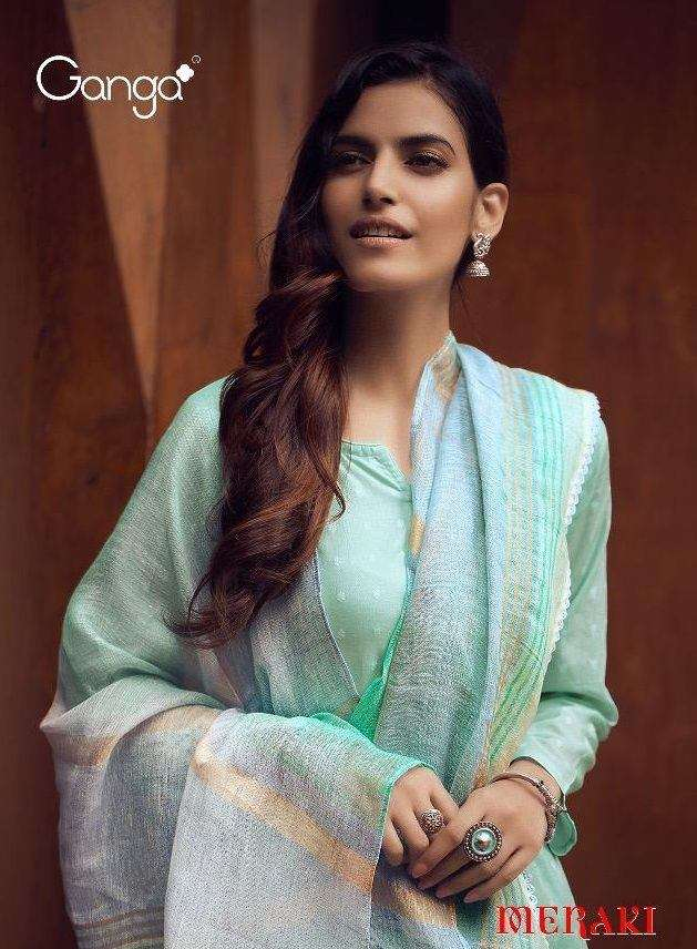 Ganga Meraki Cotton jacquard With Embroidery Work Salwar Kameez Collection