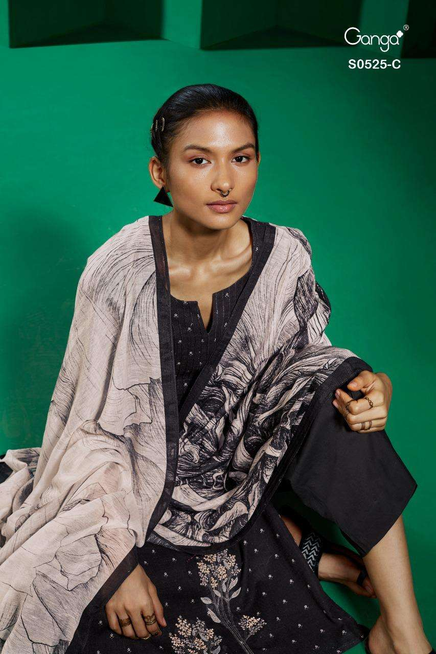 Ganga Tierra 525 Series Cotton Linen printed With Embroidery work Dress Material collection