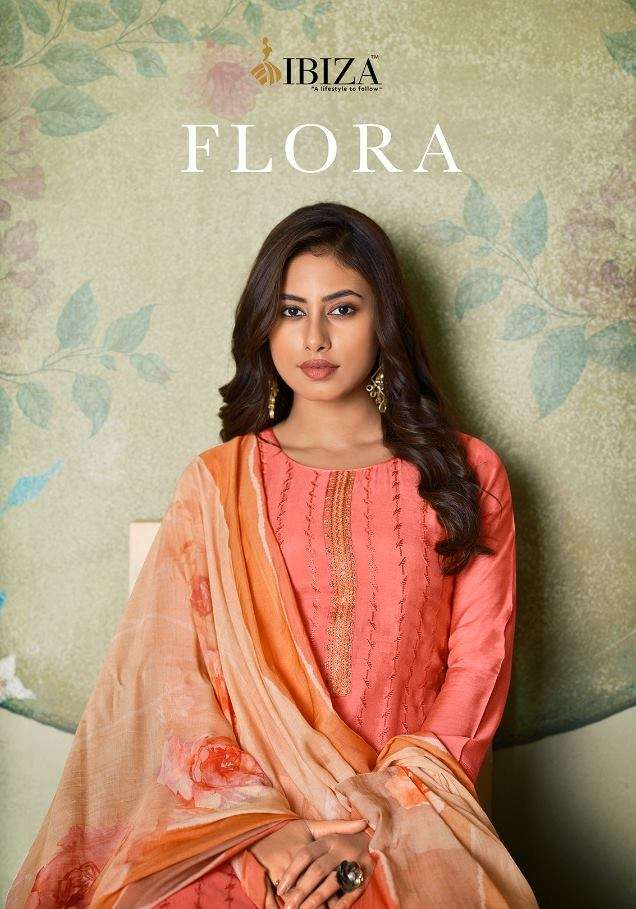 Ibiza Flora Pure Muslin With Fancy Embroidery Work Dress Material collection