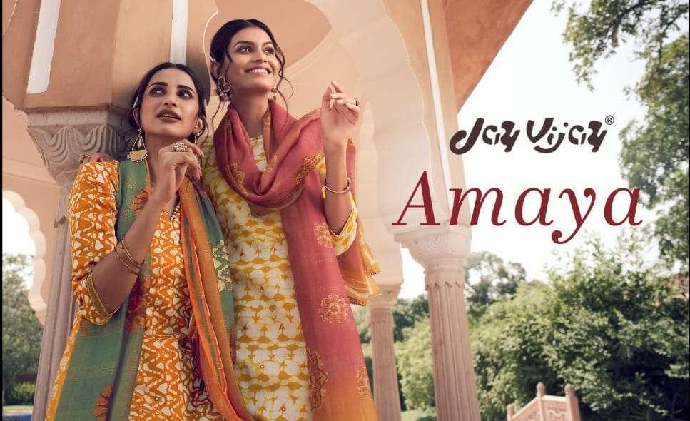 Jay Vijay Amaya Jam Satin batik print With Gota Hand work Dress Material Collection