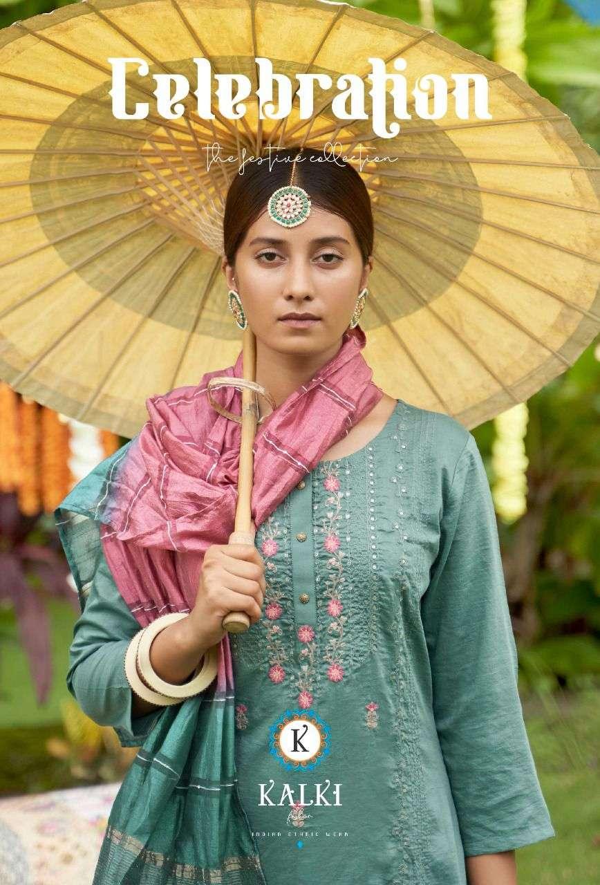 Kalki Fashion Celebration Viscose Silk With Khatli Hand Embroidery Work Kurtis Collection