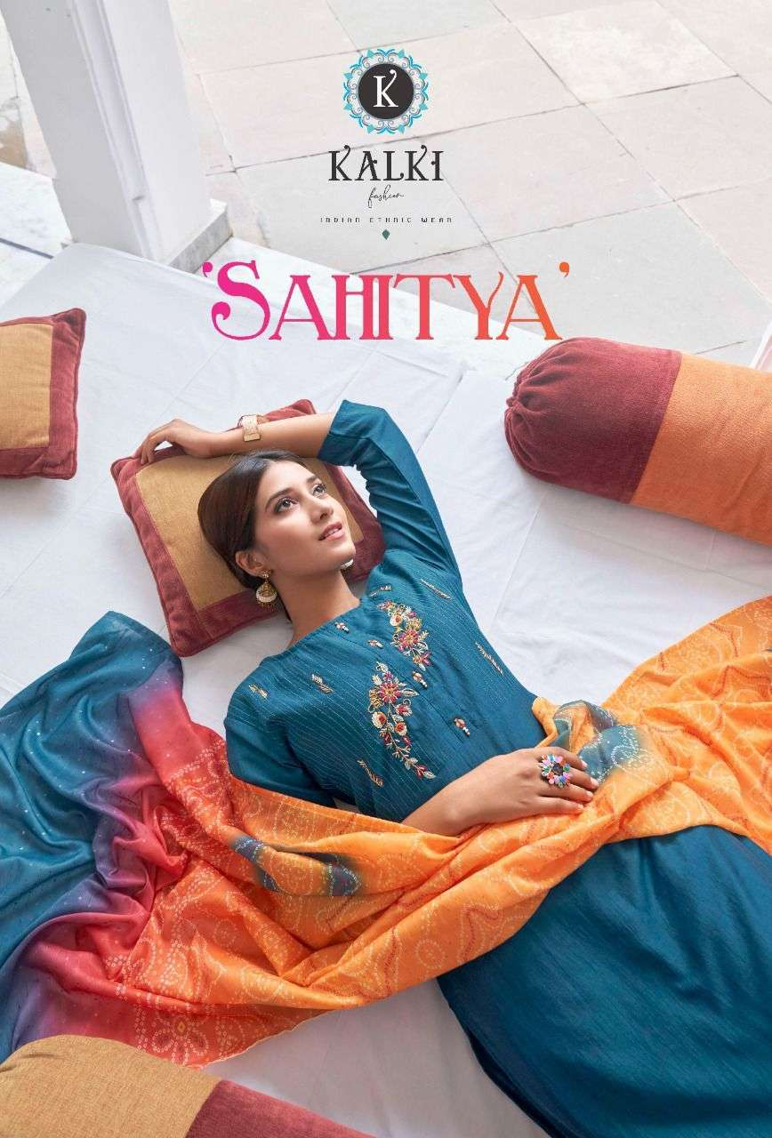 Kalki Fashion Sahitya Pure viscose Silk With Sequence With fancy Embroidery Work readymade suits collection