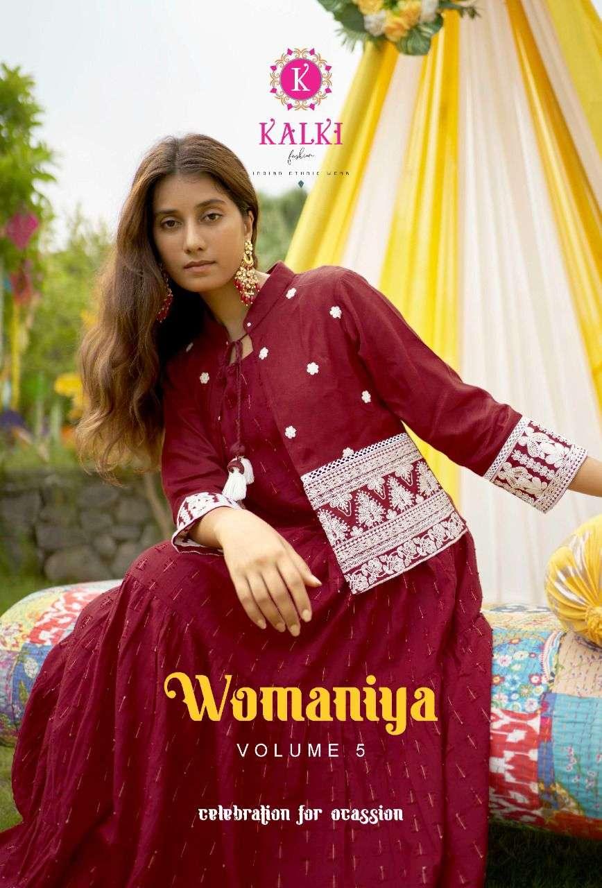 Kalki fashion Womaniya Vol 5 Cotton Weaving Dobby Kurti With Lucknowi Work Koti Style Gown Collection