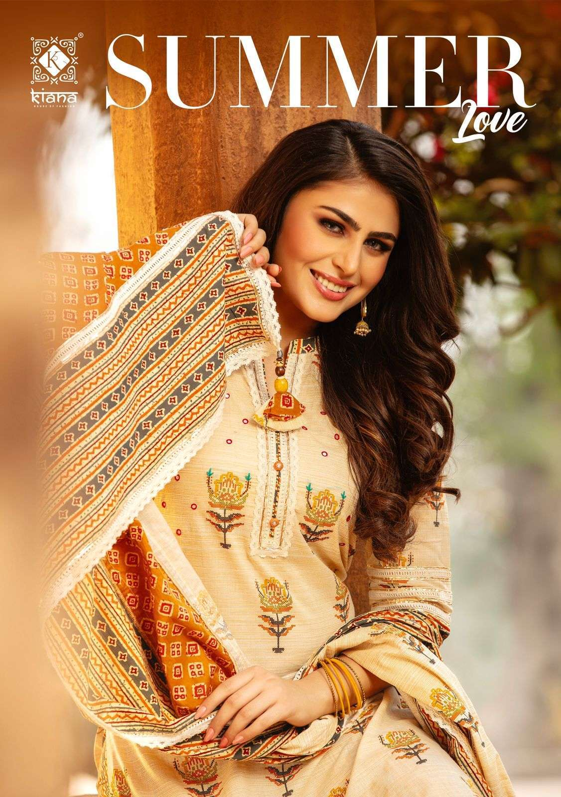 Kiana Summer Love Cotton printed With Fancy Work Kurtis with Pant Dupatta Collection