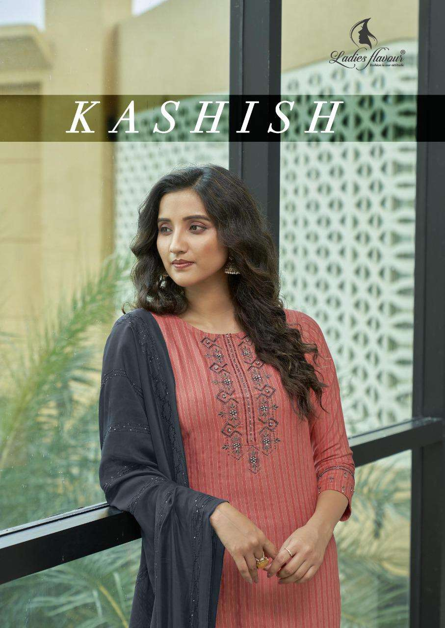 Ladies Flavour Kashish Heavy rayon With Embroidery Khatli Work Kurtis With Bottom Dupatta collection