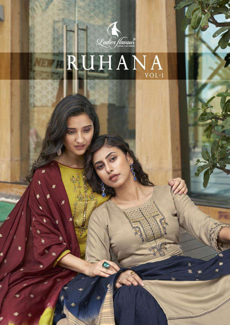 Ladies Flavour Ruhana Vol 1 Muslin With Embroidery With Khatli Work