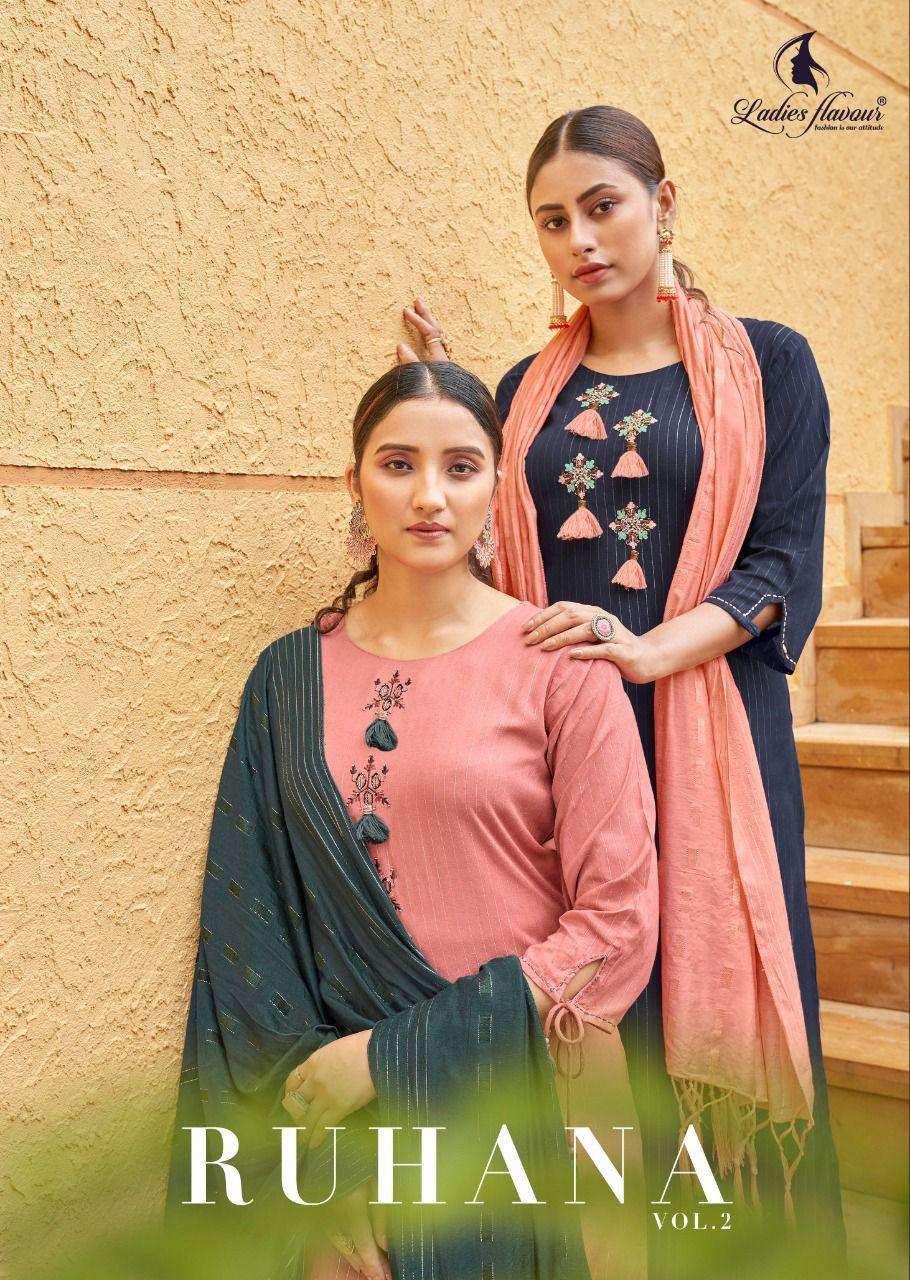 Ladies Flavour Ruhana Vol 2 Rayon With Embroidery Khatli Work Kurtis collection