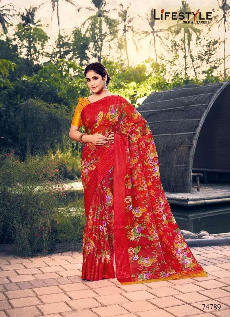Lifestyle Akansha Puri Muslin Cotton Printed Sarees Collection 01