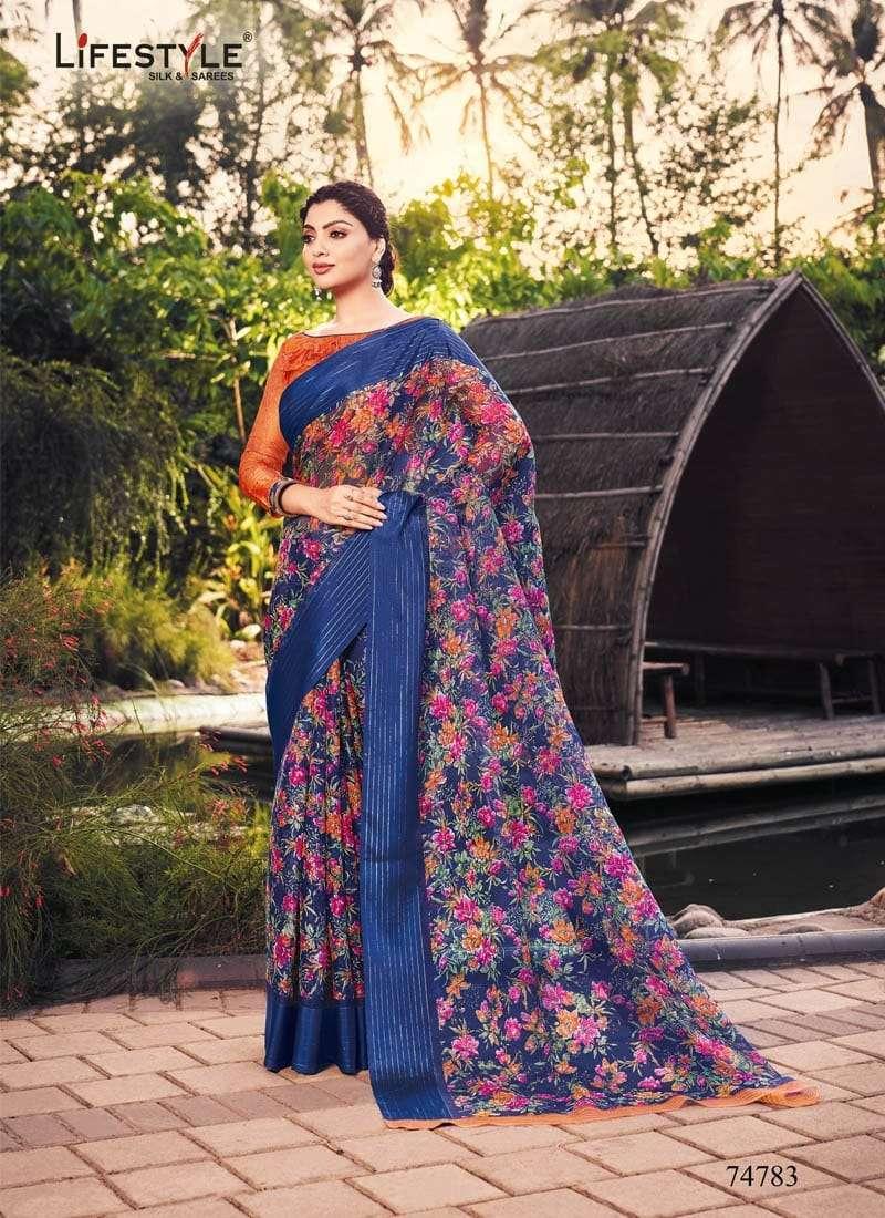Lifestyle Akansha Puri Muslin Cotton Printed Sarees Collection 02